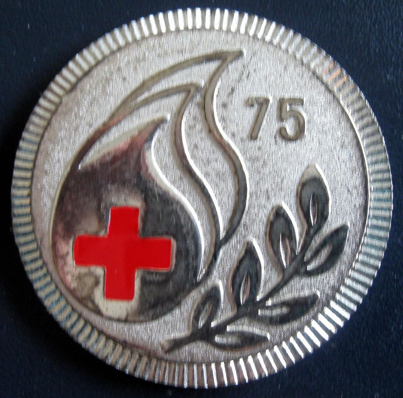 Medalla 75 veces Donante Voluntario de Sangre, Cruz Roja de Yugoslavia.