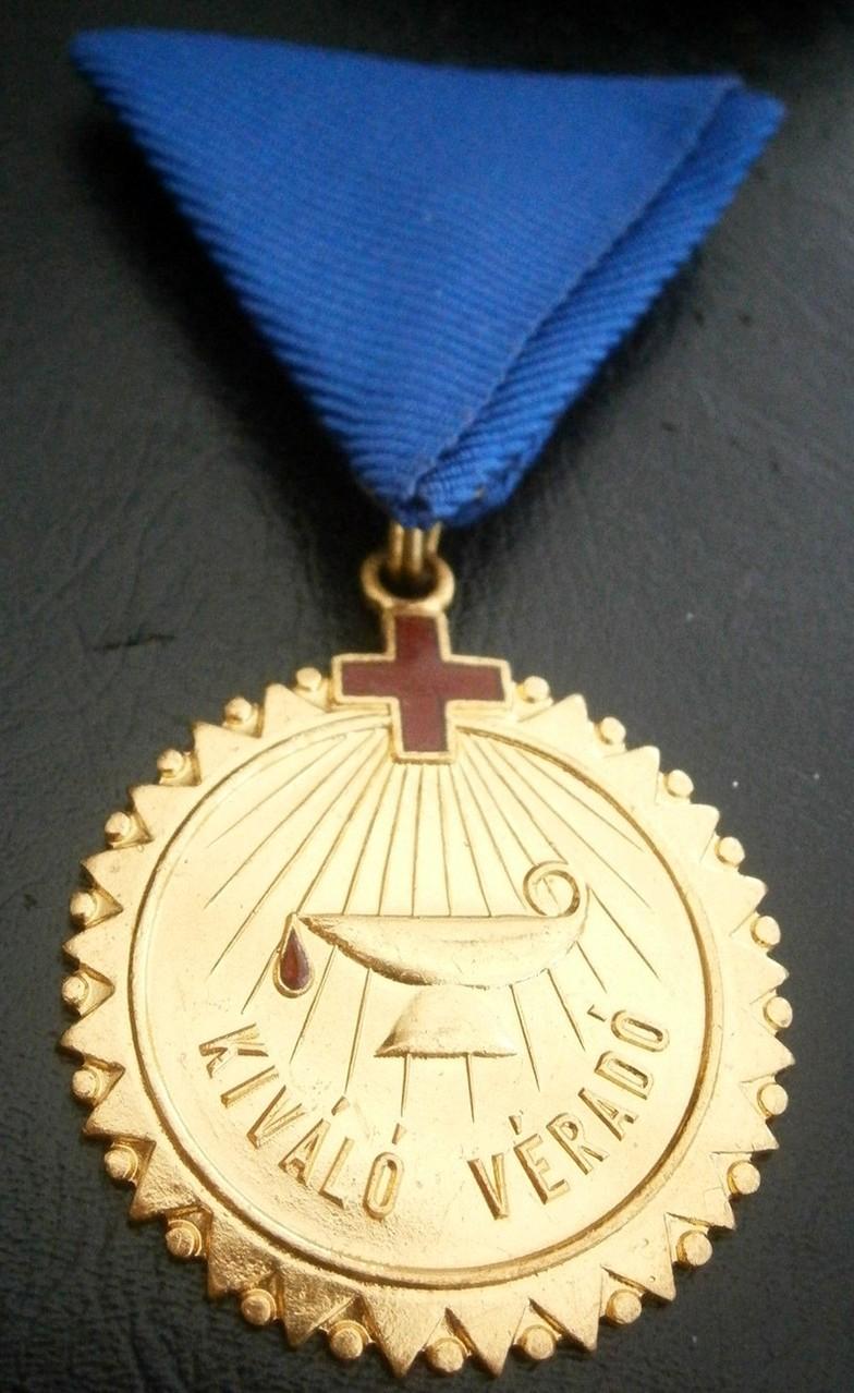 Blood Donor Gold, Medalla por las 60 Donaciones. Hungría.