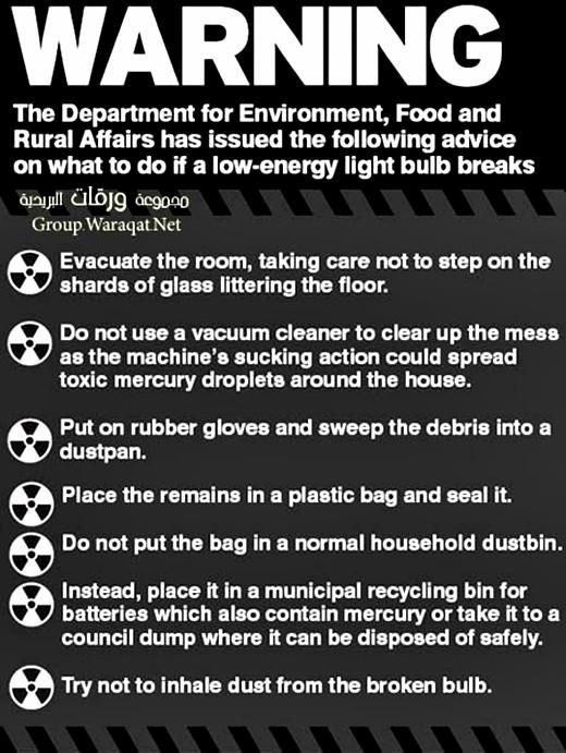 Aviso del Ministerio británico de Salud sobre las lámparas de ahorro de energía.
