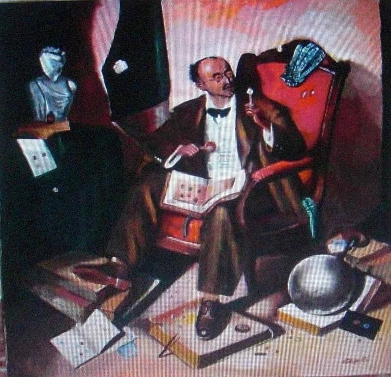 óleo 55x60, copia de El Filatelista del pintor Grigori Ivanovich Sciltian (1900-1985), fue reproducida en un Sello cubano de 1968 (Catálogo Scott 1332).
