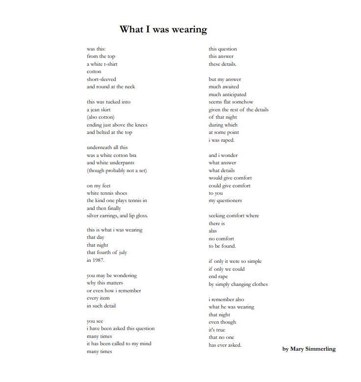 """Gedicht """"Was ich an hatte"""" von Mary Simmerling"""