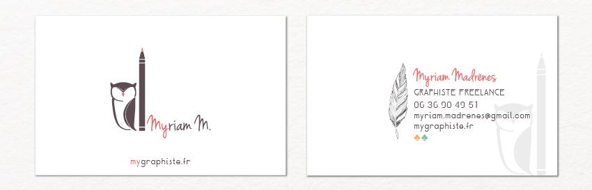 la carte de visite de Myriam Madrènes, graphiste, recto verso