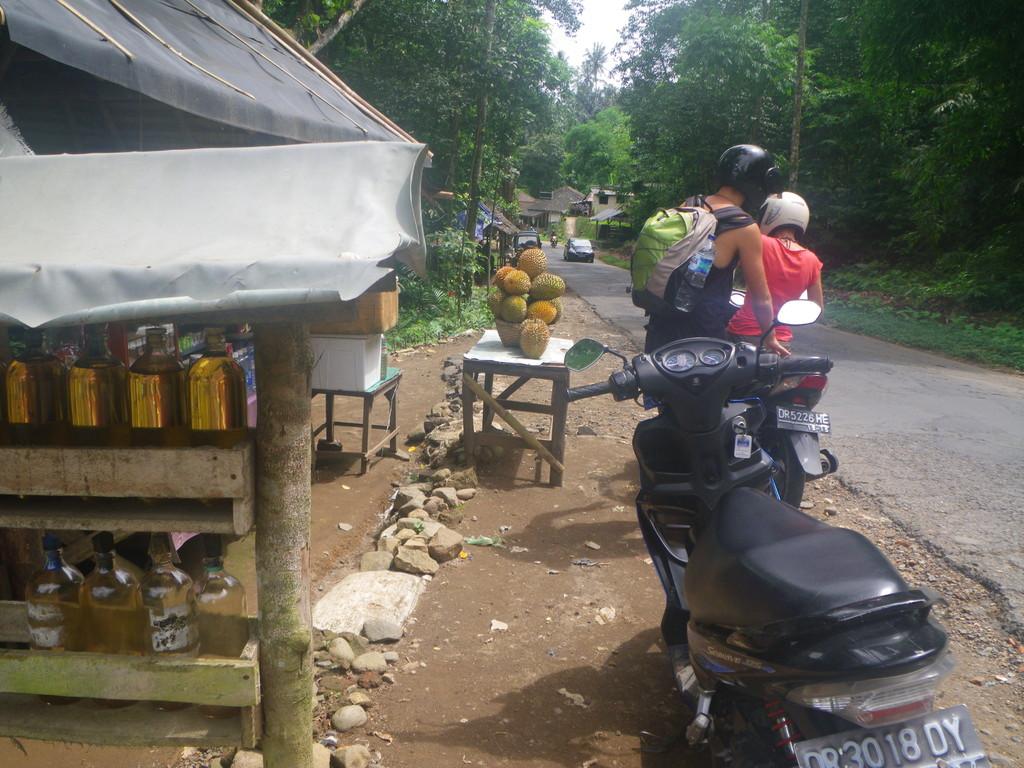 An solchen Staenden kann man ueberall sein Benzin aus der Flasche holen. Die gelben fruechte im Hintergrund nennt man Durian. Probieren wollten wir sie nicht, da sie extrem stinken....
