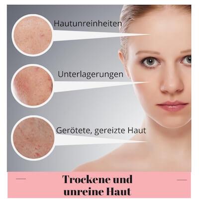 Trockene unreine Haut