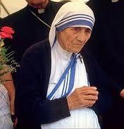 "Heilige Mutter Teresa. Traegerin der ""Nobel Preis"" f. Friede."