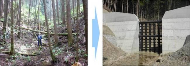 事前現地調査の様子とその後に完成した治山ダムの写真