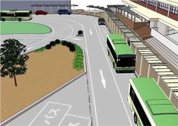 駅前広場の完成イメージ画像 3Dデータ