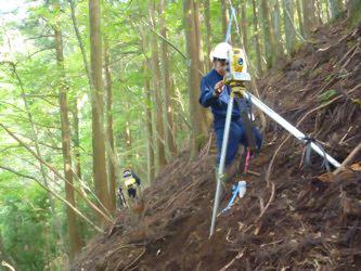 山の斜面で測量を行っている様子