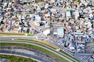 上空から撮影した町の様子