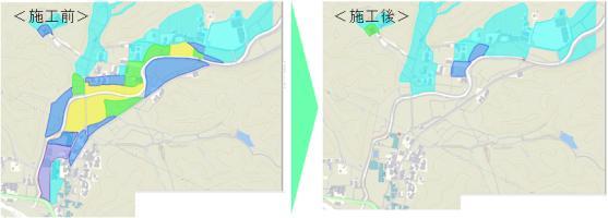 河川が氾濫した際のハザードマップ、堰堤を作る前と作った後の比較