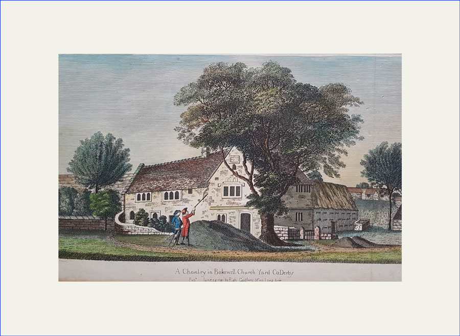 Copper engraving of Bakewell, Derbys, church yard
