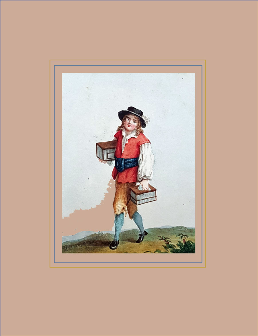 Early hand coloured aquatint of a birdseller's boy