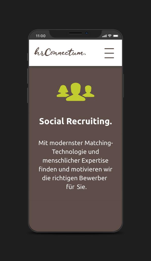 Website für hr connectum und matchgarden, Smartphone-Ansicht