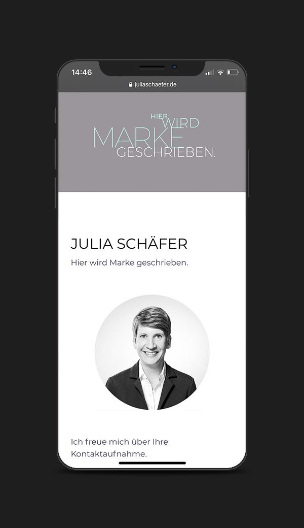 Website für die Texterin Julia Schäfer aus Karlsruhe