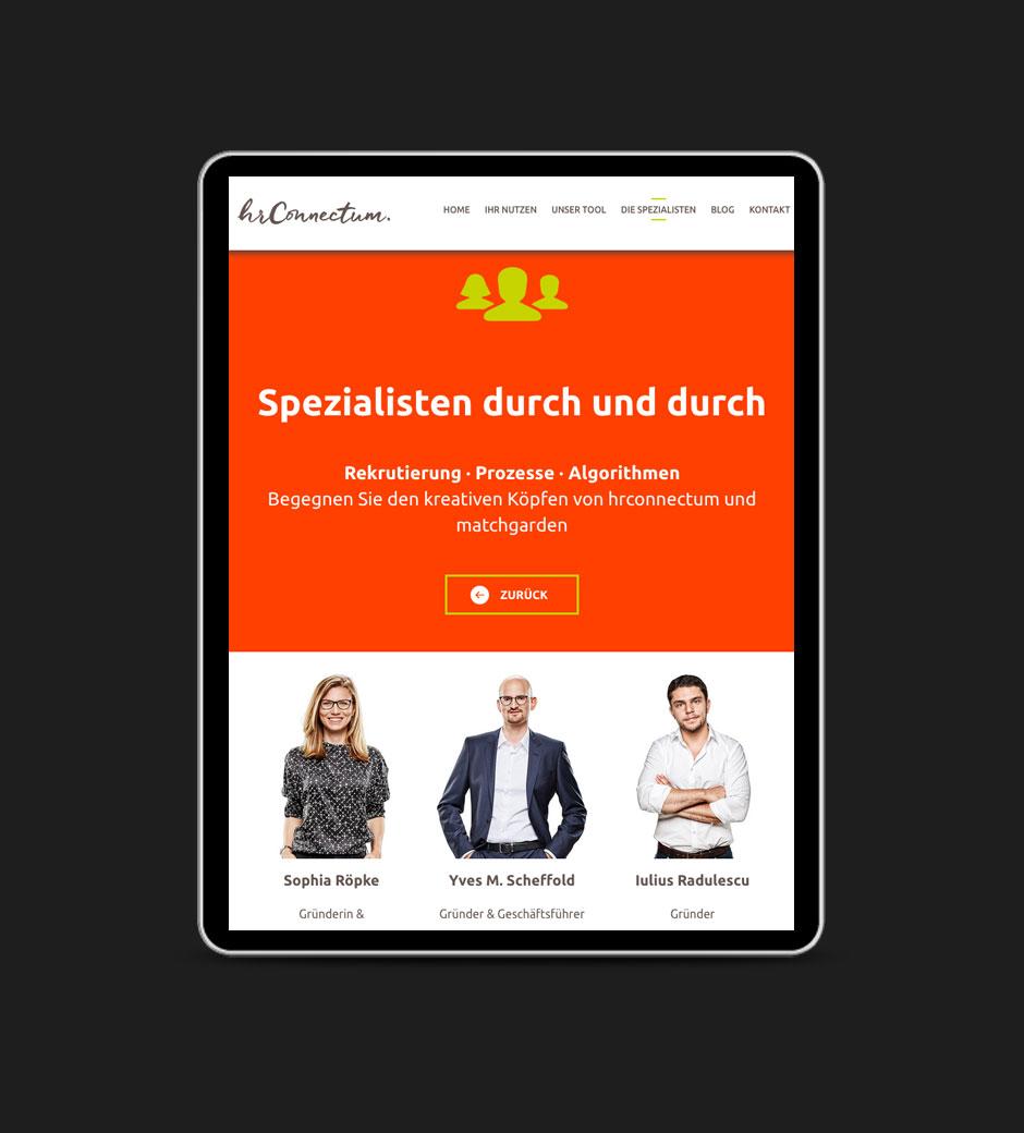 Website für hr connectum und matchgarden, Tablet-Ansicht
