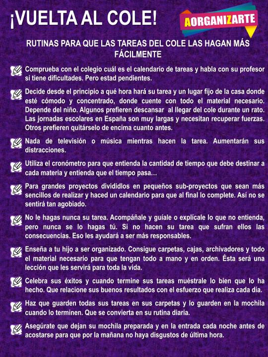 Rutinas para que las tareas del cole las hagan facilmente - www.AorganiZarte.com