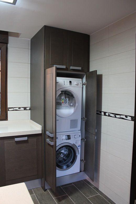 Monta la secadora sobre la lavadora para que sea más fácil la colada - AorganiZarte