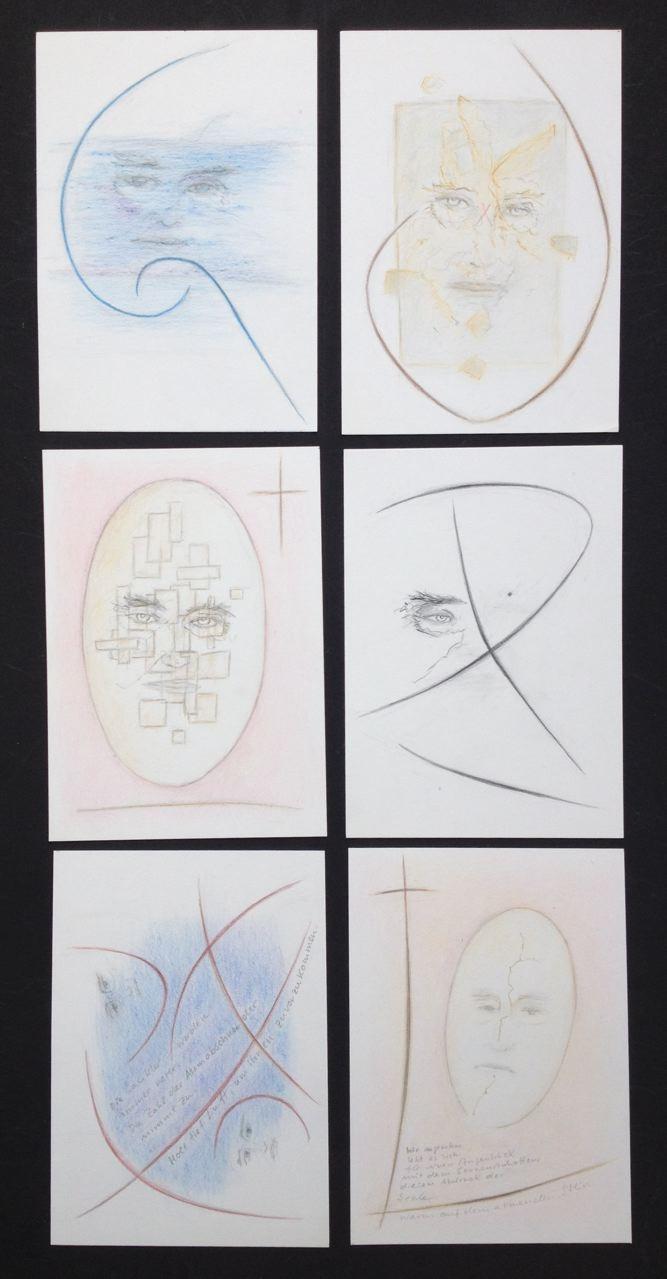 """""""Härtling-Ruoff Spuren des Ikarus"""", 2017, 6 Zeichnungen, 66 x 32 cm (#917)"""