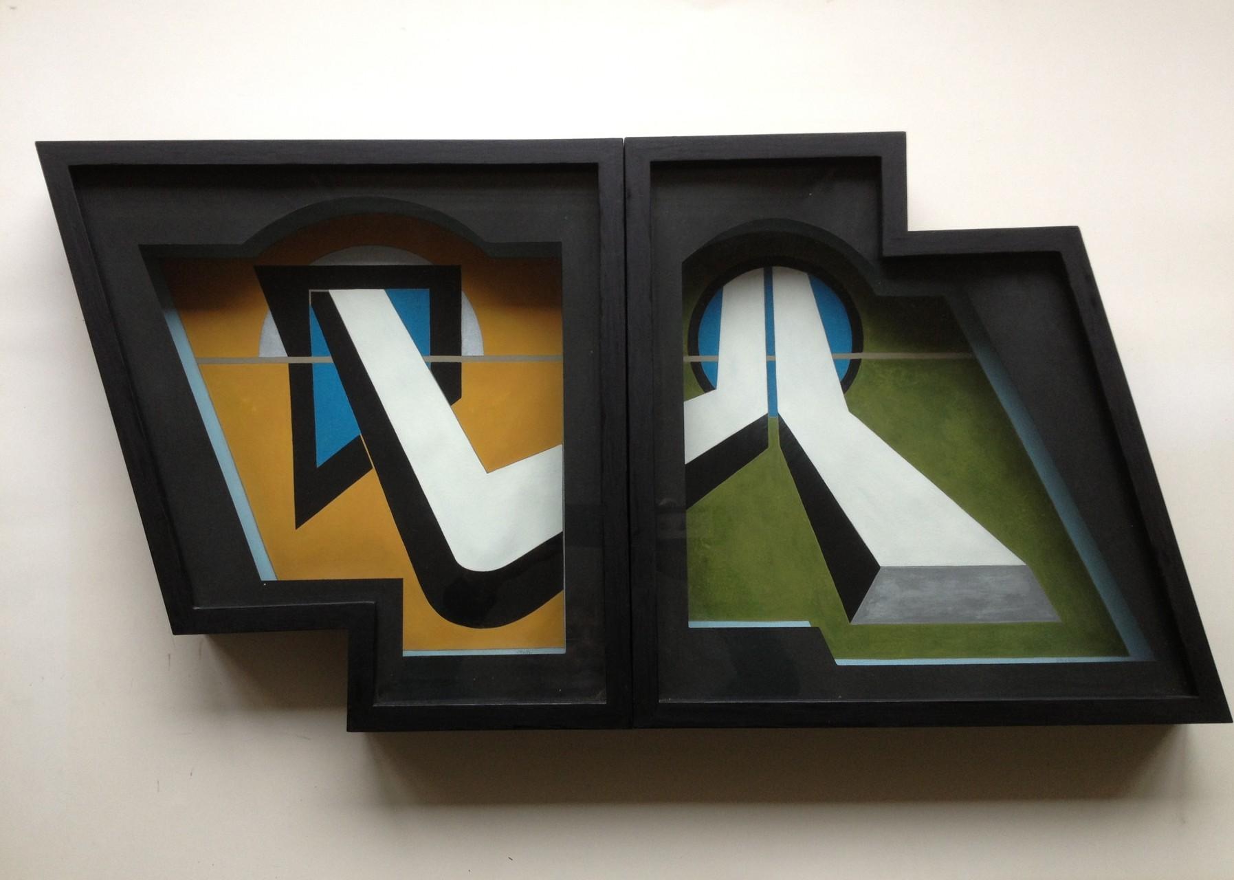 Konstruktive Annäherung, Raumschnitt 2-teilig, Gouache, je 40 x 40 x 7 cm, 1973 (#599)