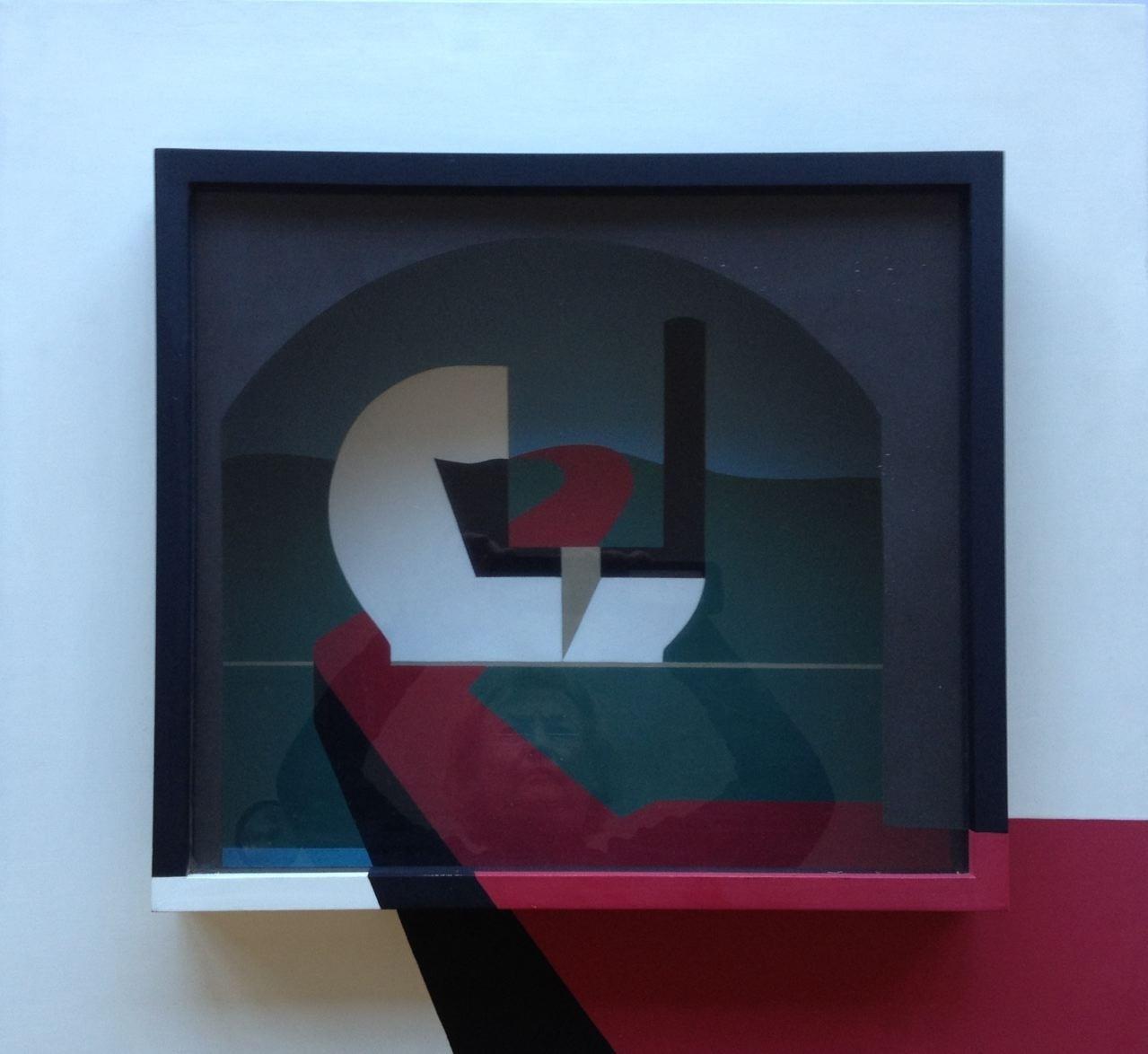 Pfeilgenau, Raumschnitt, Holzkasten verglast, 60 x 65 x 14 cm, 1973 (#611)