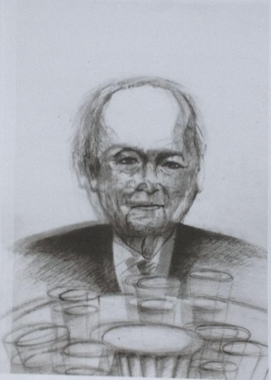 Der Gastgeber (Kurt Gebhardt), 2015, Mischtechnik, 30 x 21 cm (#783)
