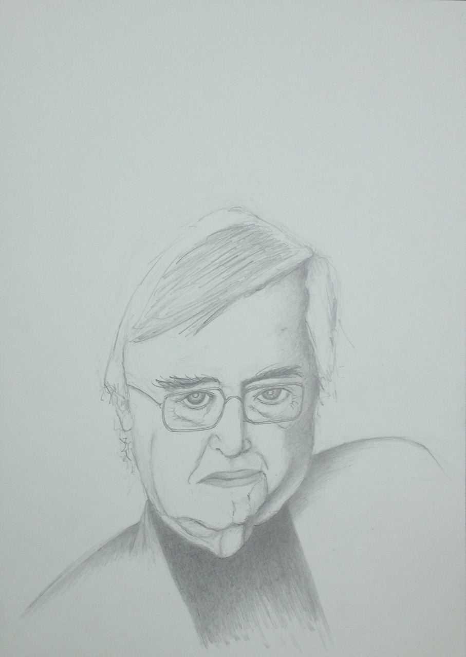 Peter Härtling, Juli 2017, Zeichnung, 40 x 30 cm (#897)