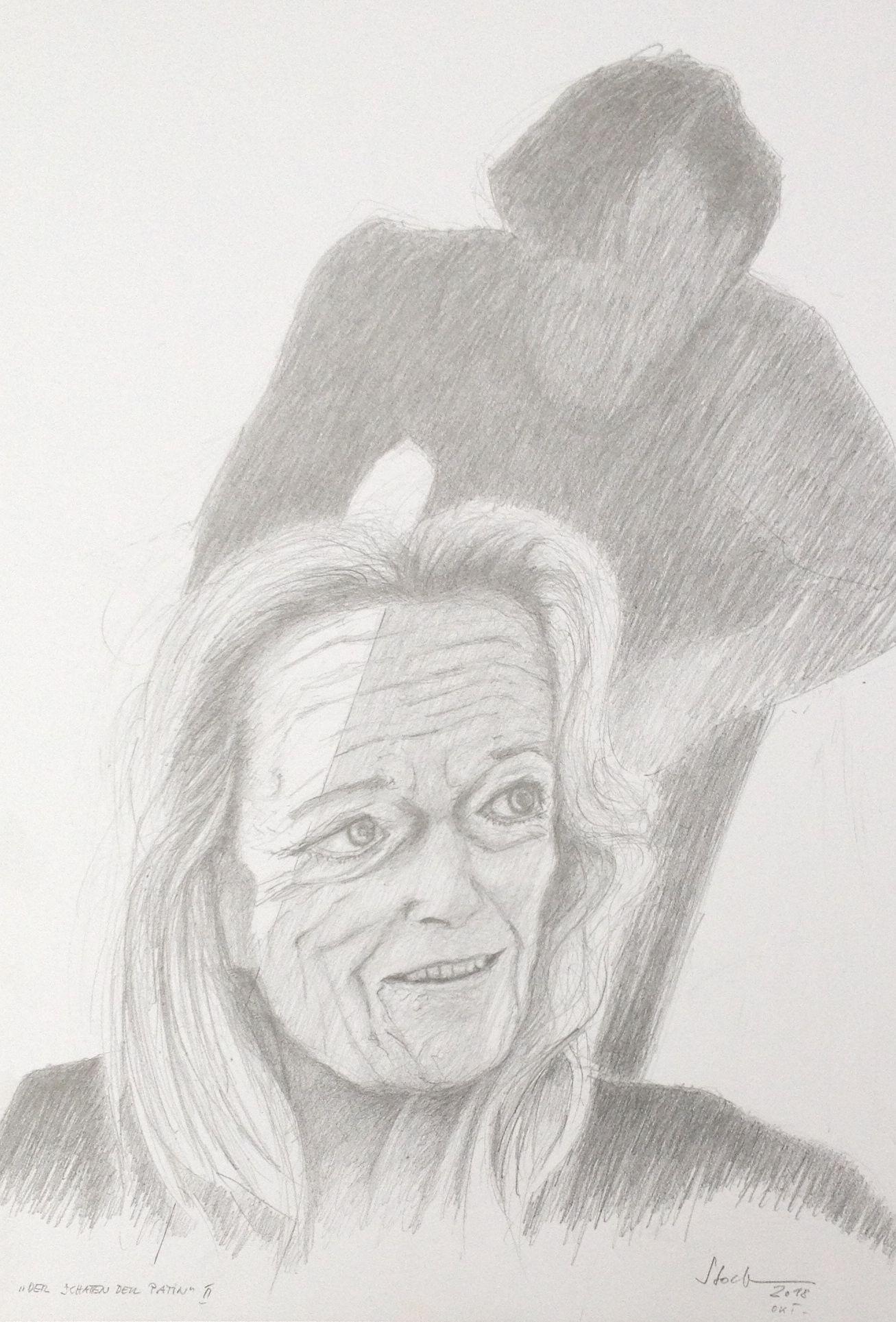 """""""Der Schatten der Patin II, 2018, Zeichnung (#983)"""