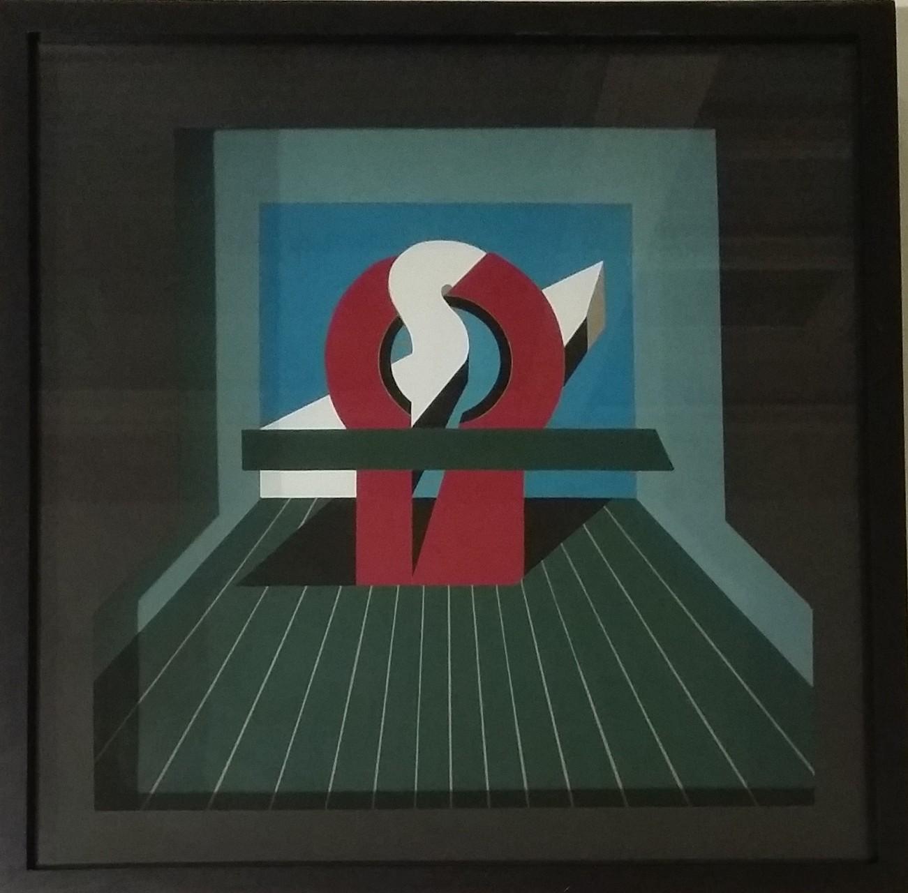 Querkraft, Raumschnitt, Gouache, 45 x 45 x 8 cm, 1972 (#600)