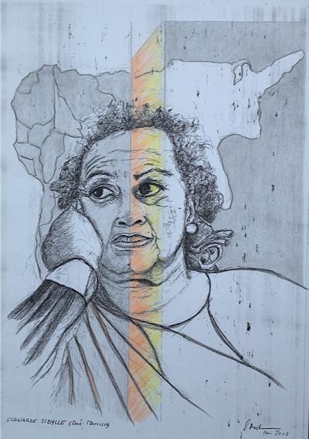 """""""Schwarze Sibylle"""" (Toni Morrison), 2018, Zeichnung, 40 x 30 cm (#954)"""