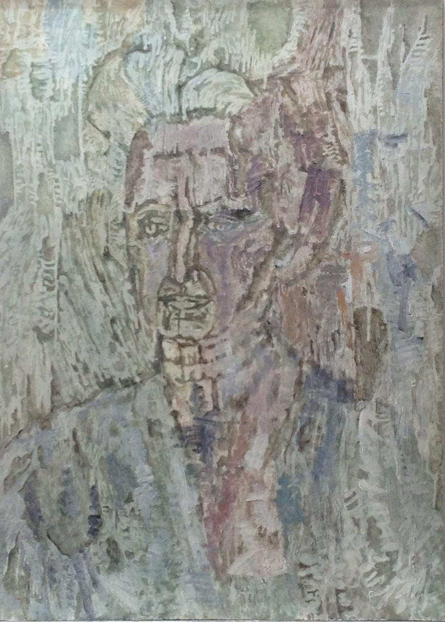 Porträt fließend, Öl auf Hartfaser, 70 x 50 cm, 1960 (#609)