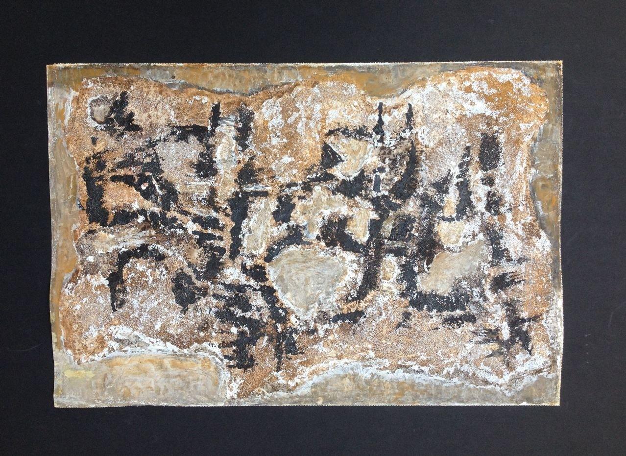 Materialstudie, Gouache + Sand, 39 x 58 cm, 1962 (#775)