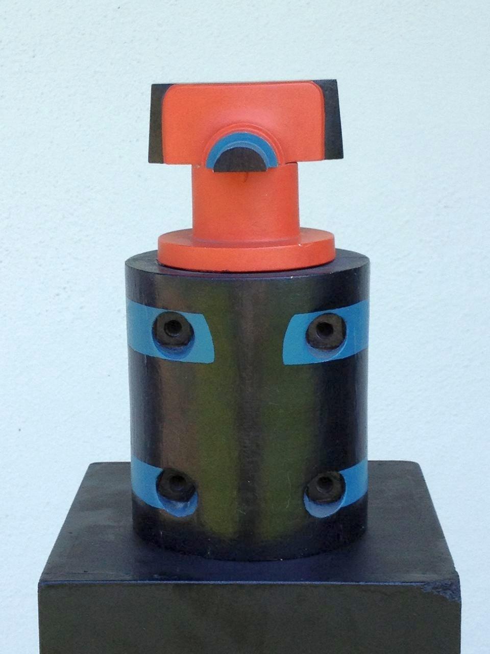Technik-Idol 2, Holzobjekt farbig bemalt, 26 x 12 x 12 cm, 1971 (#564)