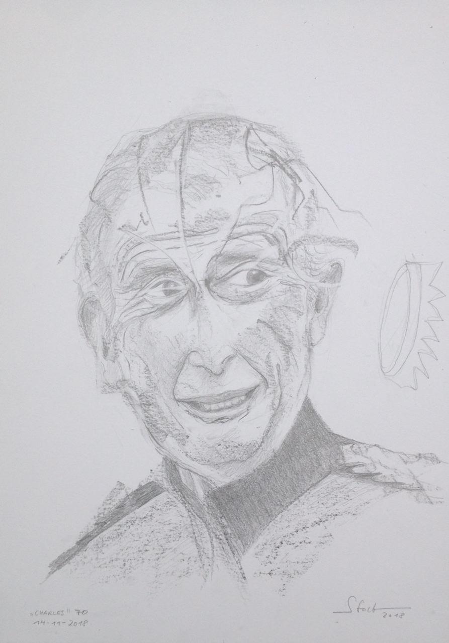 Prinz Charles 70, 2018, Zeichnung, 40 x 30 cm (#991)