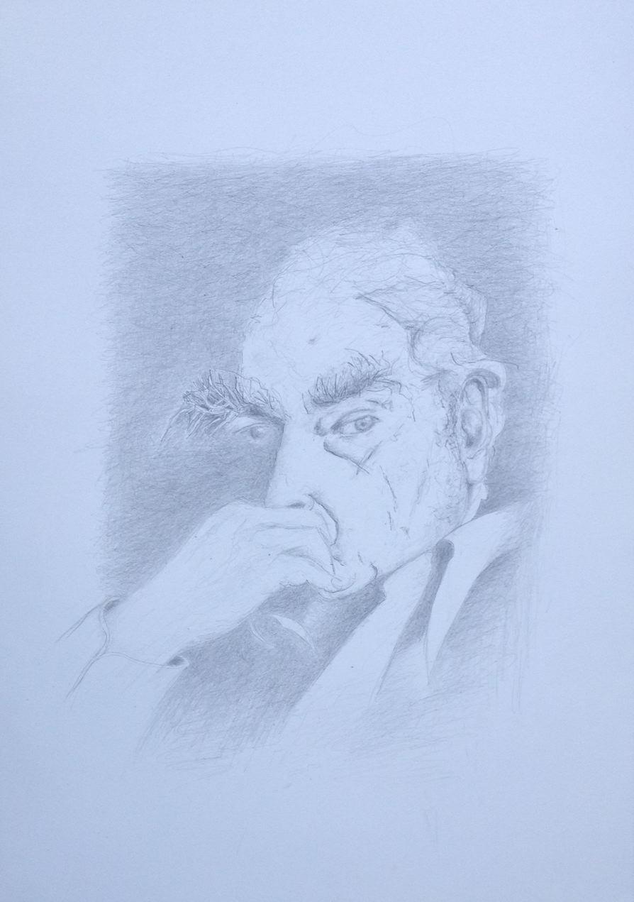 """""""Aus gegebenem Anlaß"""" (Martin Walser zum 90. Geburtstag am 24. März 2017), Zeichnung, 40 x 30 cm (#874)"""