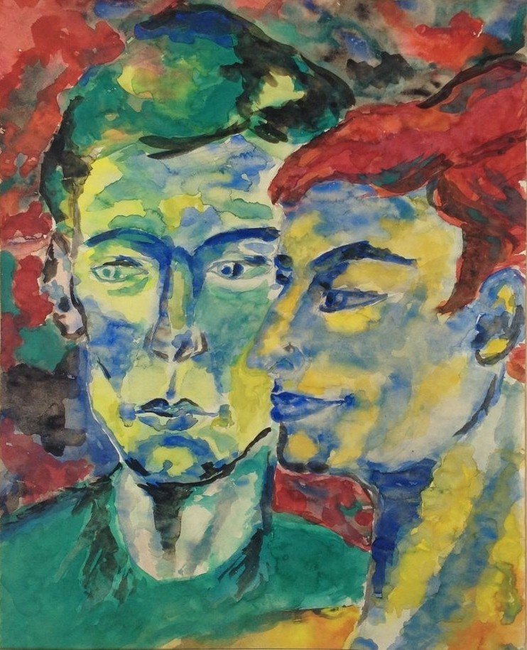 Paar, Aquarell, 40 x 30 cm, 1960 (#702)