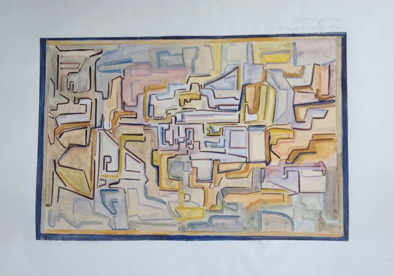 Labyrinth, Gouache,  27 x 40 cm, 1960 (#777)