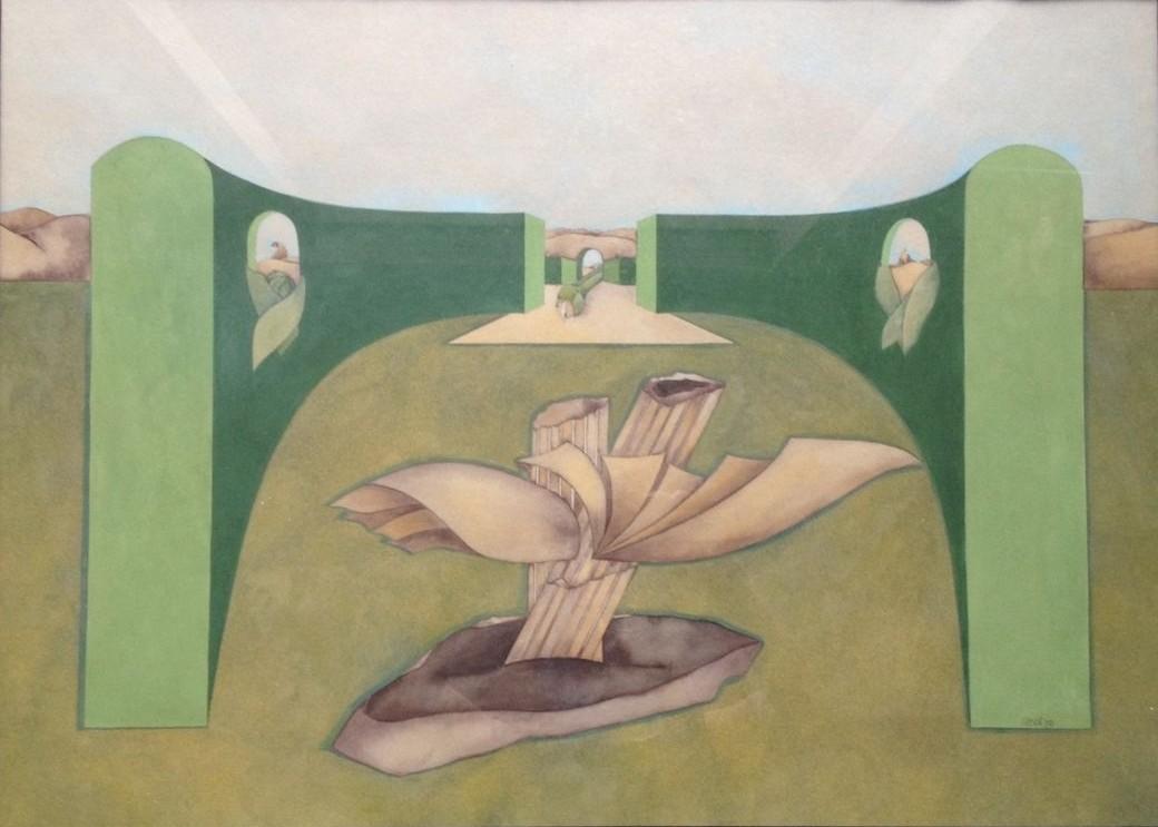 Säulengewächs, Gouache, 60 x 80 cm, 1976 (#764)