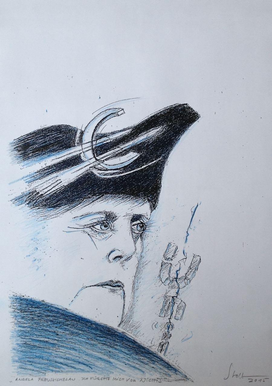 """Angela preußischblau: """"Ich fürchte mich vor nichts"""", Mischtechnik, 36 x 28 cm, 2015 (#769)"""
