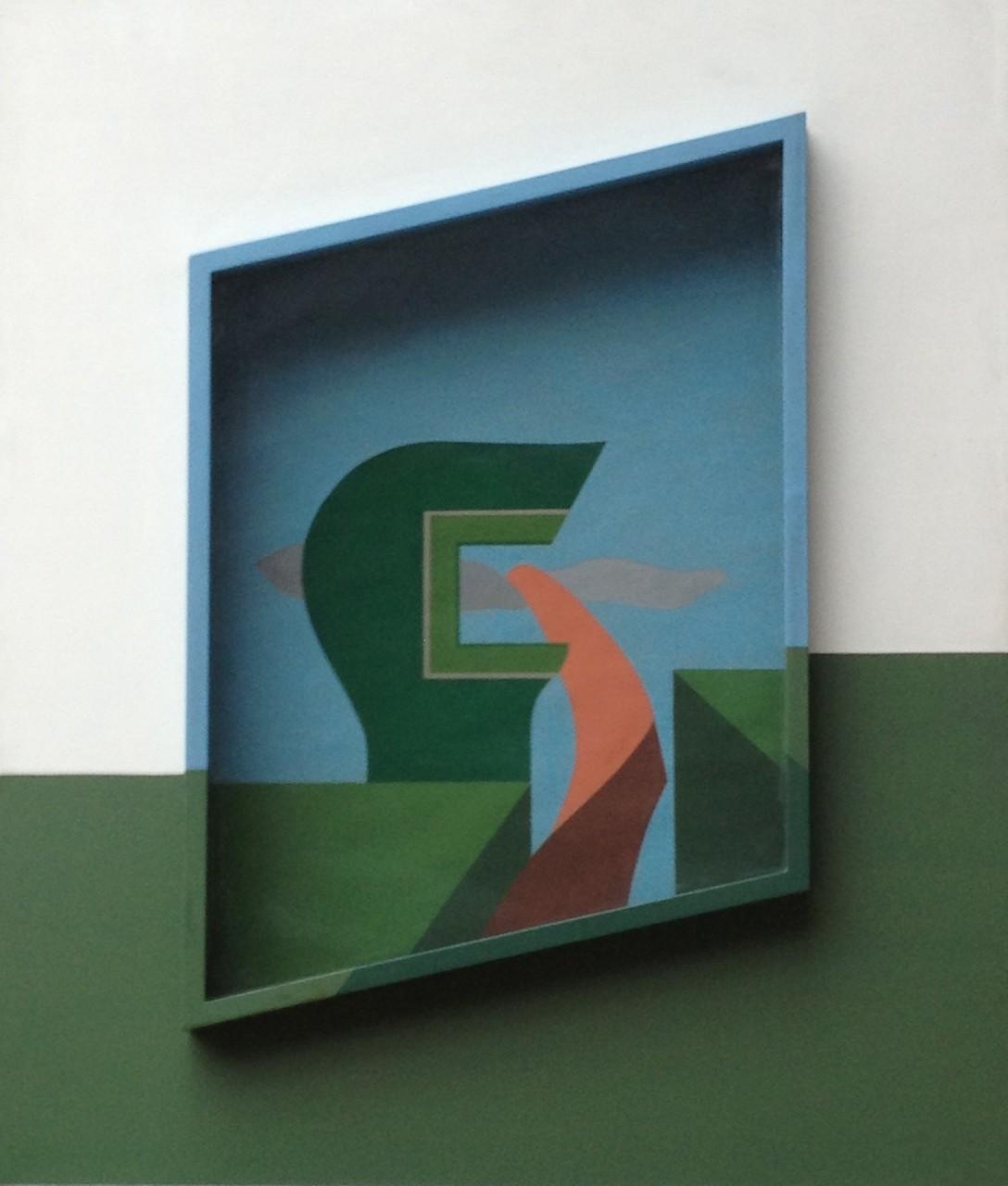Orange aktiv, Holzkasten verglast, Gouache, 90 x 75 x 10 cm, 1974 (#604)