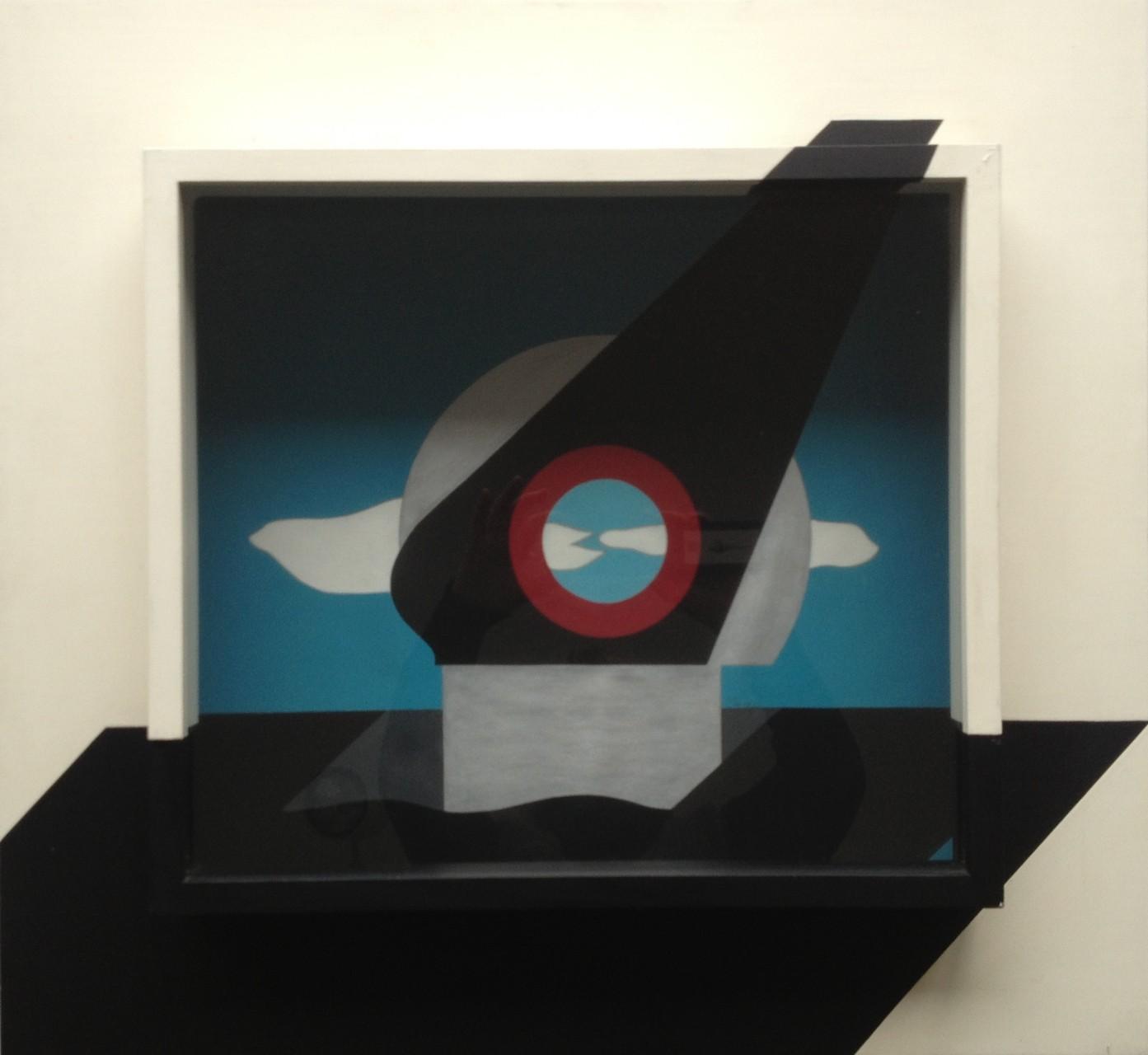 Kosmische Annäherung, Raumschnitt, Gouache, Holzkasten verglast 65 x 60 x 13 cm, 1973 (#608)