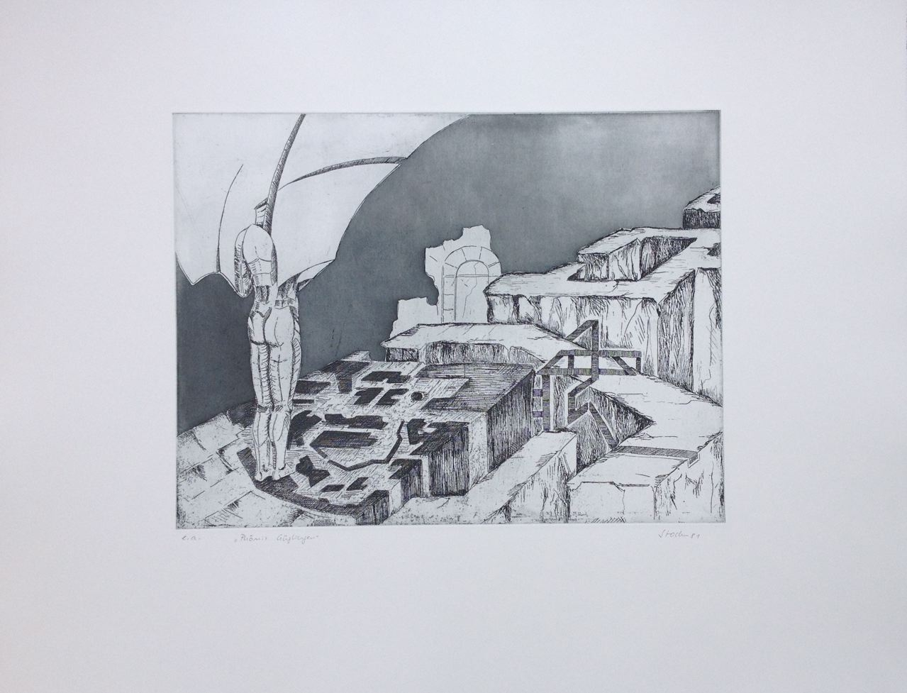 """Phönix Güglingen"", 1981, Radierung, Aquatinta, 60 x 50 cm (#919)"