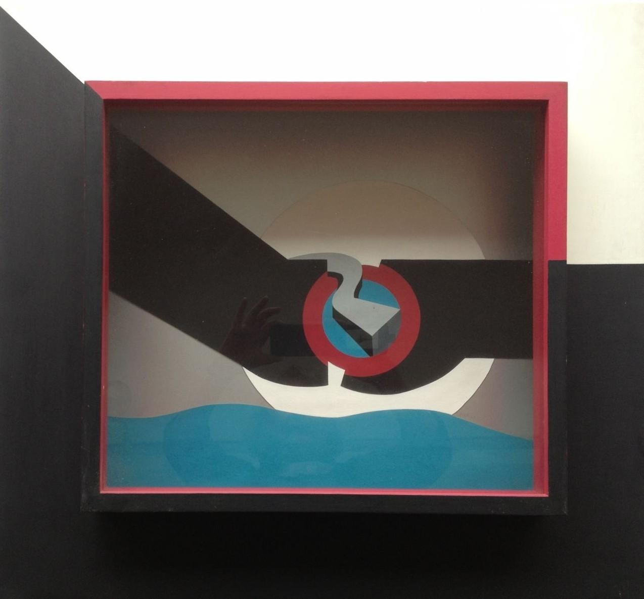Raumschnitt, Holz bemalt, Gouache, 60 x 65 x 15 cm, 1973 (#593)
