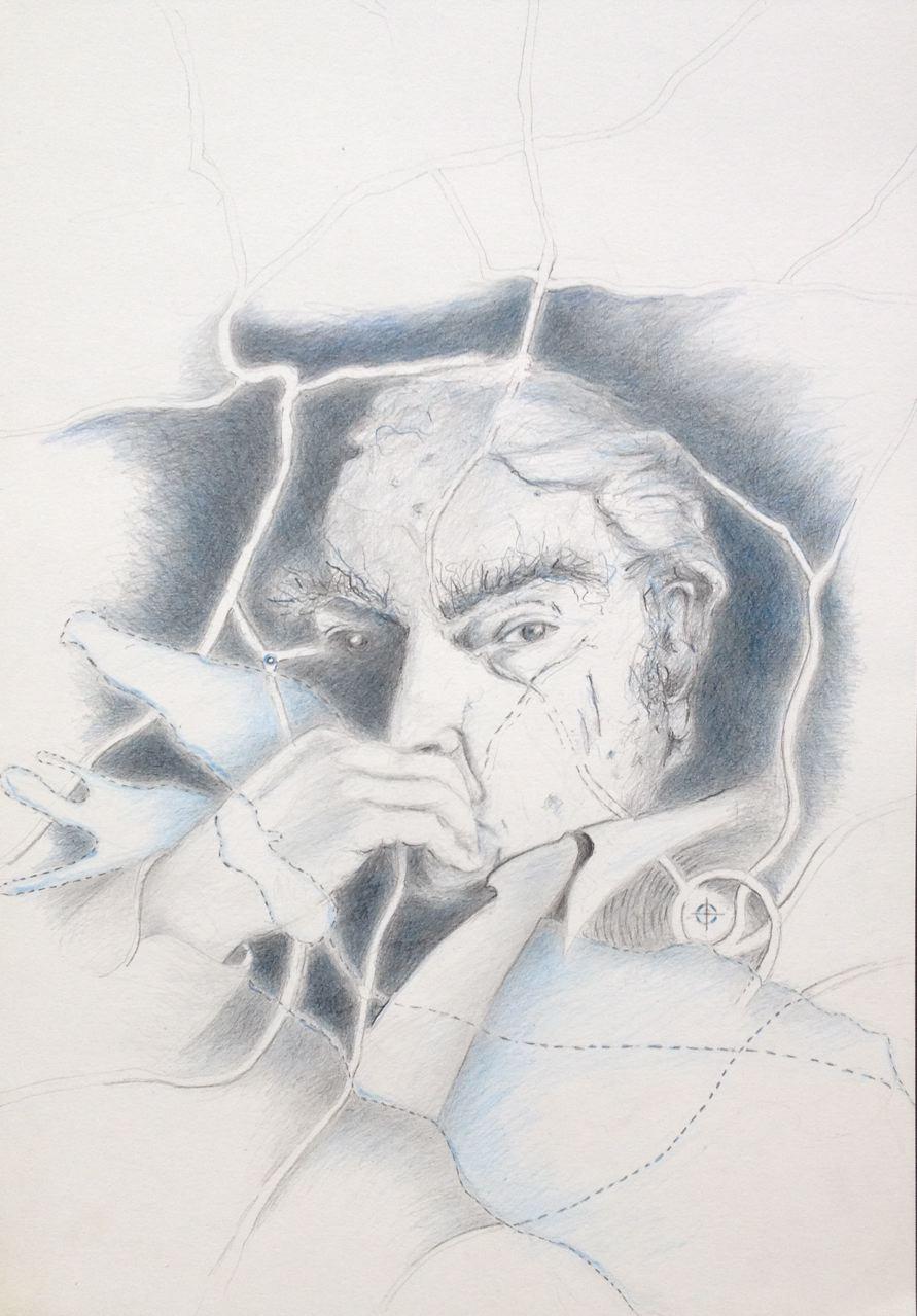"""Martin Walser: """"Vernetzt am See"""", 2017, Zeichnung, 40 x 30 cm (#875)"""