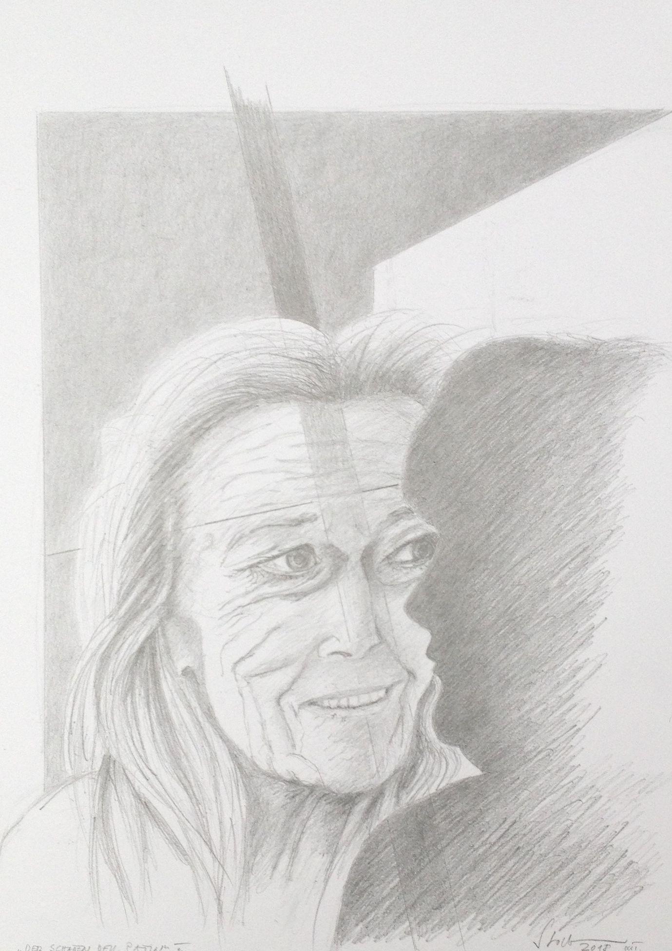 """""""Der Schatten der Patin III,2018, Zeichnung (#984)"""