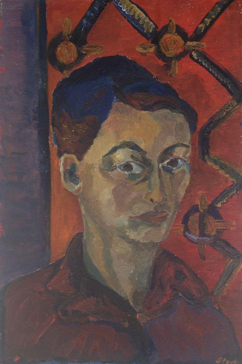 Erstes Selbstporträt, Öl auf Hartfaser,  60 x 40 cm, 1960 (#584)
