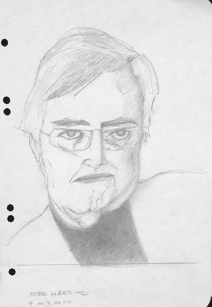 Aus dem Skizzenbuch: P.H.  (Peter Härtling), 10.7.2017, Zeichnung, 30 x 21 cm (#901)