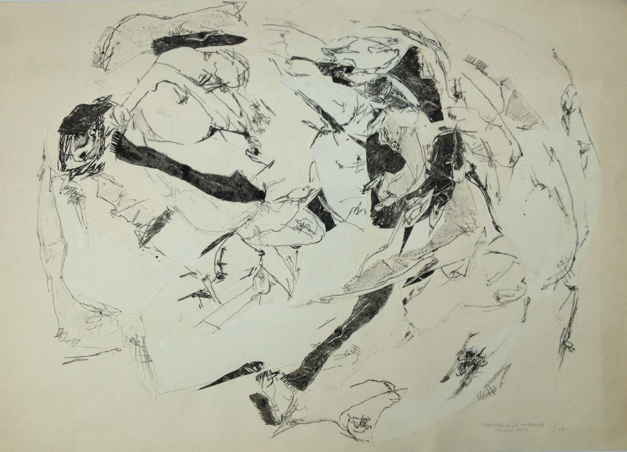 Rundlich Verzäuntes, Monotypie collagiert, 60 x 90 cm, 1964 (#768)