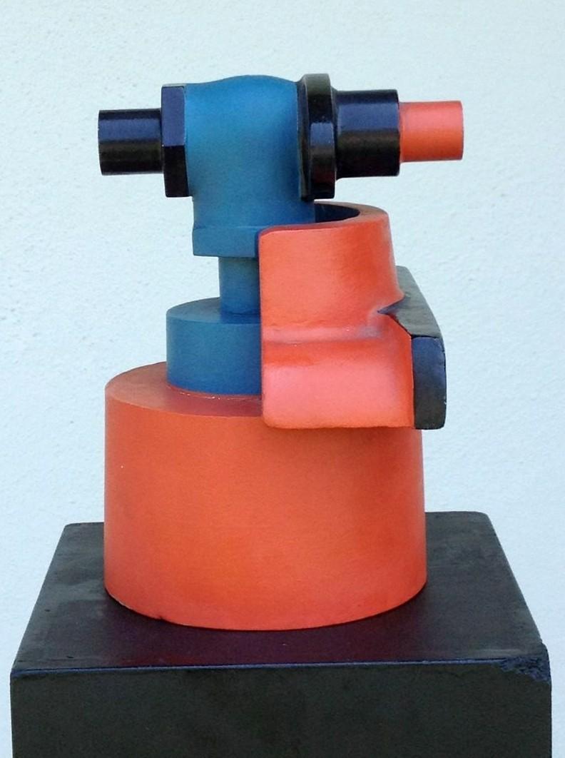 Technokrat, Holzobjekt farbig bemalt, 20 x 18 x 14 cm, 1971 (#561)