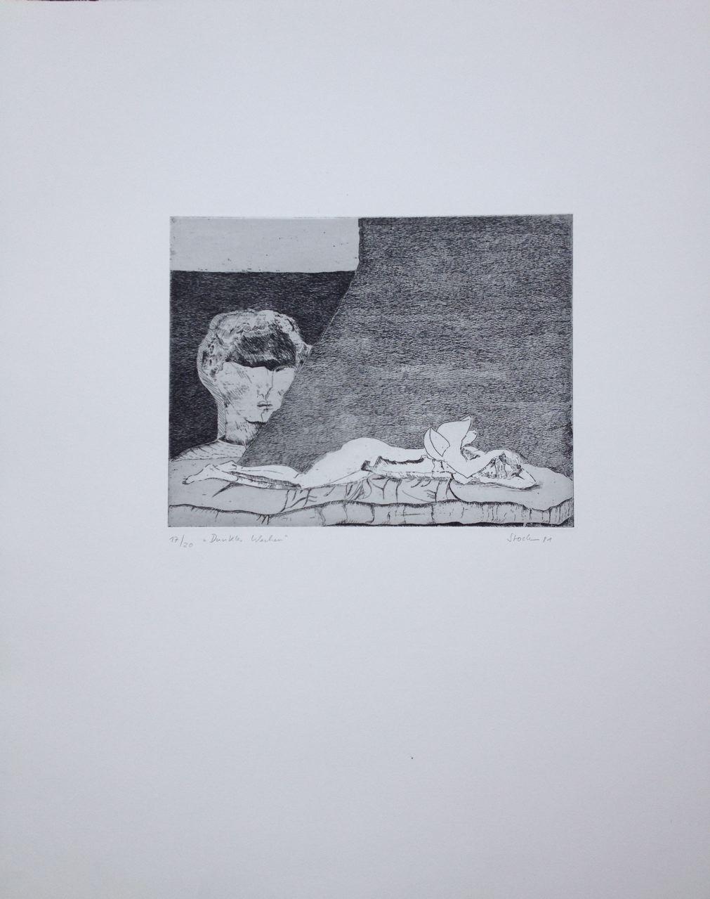 """""""Dunkles Wachen"""", 1981, Radierung, Aquatinta, 60 x 50 cm (#918)"""