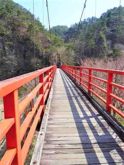 あゆのつり橋 夢想滝 矢祭山 矢祭町